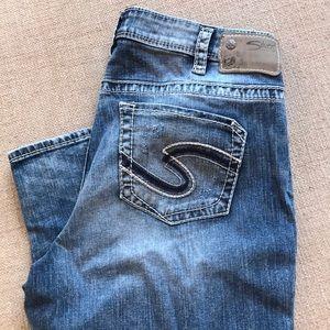 Silver Boyfriend Jeans 14 fluid denim EUC